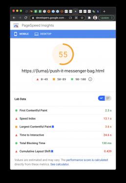 Luma Demo Mobile Page Speed Score